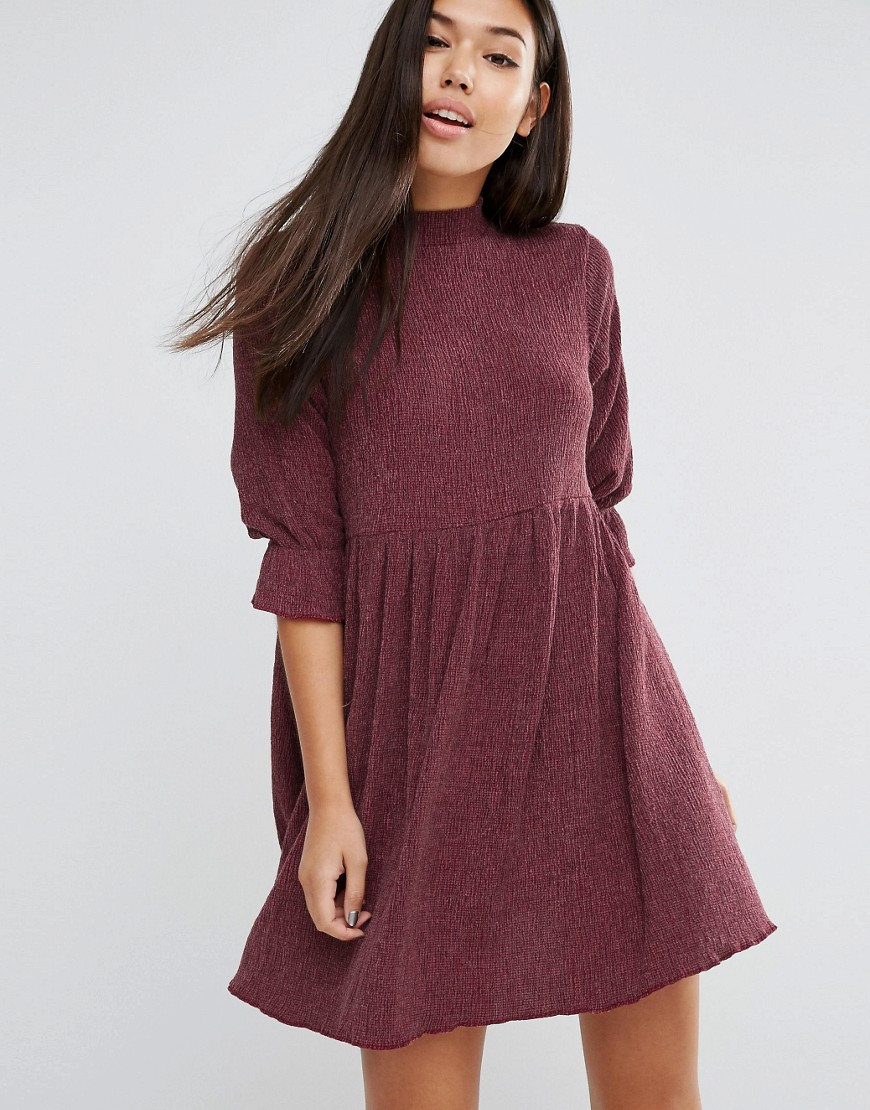 ASOS Smock Dress in Textured Fabric - Red