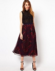 ADAM by Adam Lippes Silk Midi Skirt in Multi Print