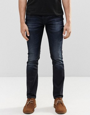 Nudie Long John Skinny Jeans Blue on Grey Dark