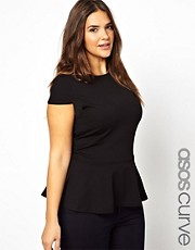 ASOS CURVE Exclusive Top With Peplum Hem
