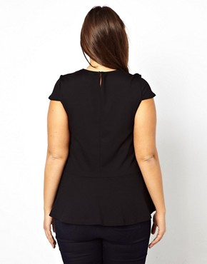 Image 2 ofASOS CURVE Exclusive Top With Peplum Hem