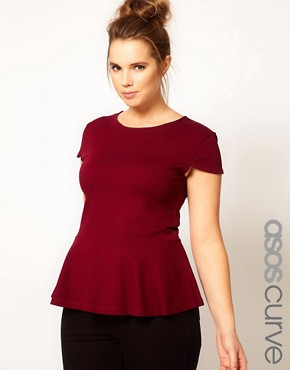 Image 1 ofASOS CURVE Exclusive Top With Peplum Hem