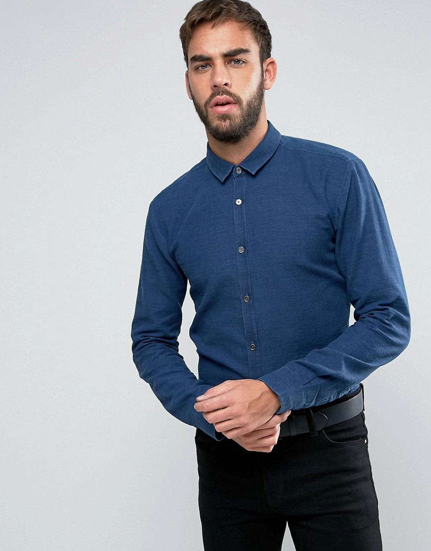 HUGO by Hugo Boss Ero 3 Washed Pique Shirt Slim Fit - Navy