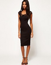 ASOS Ponte Dress With Lace Top