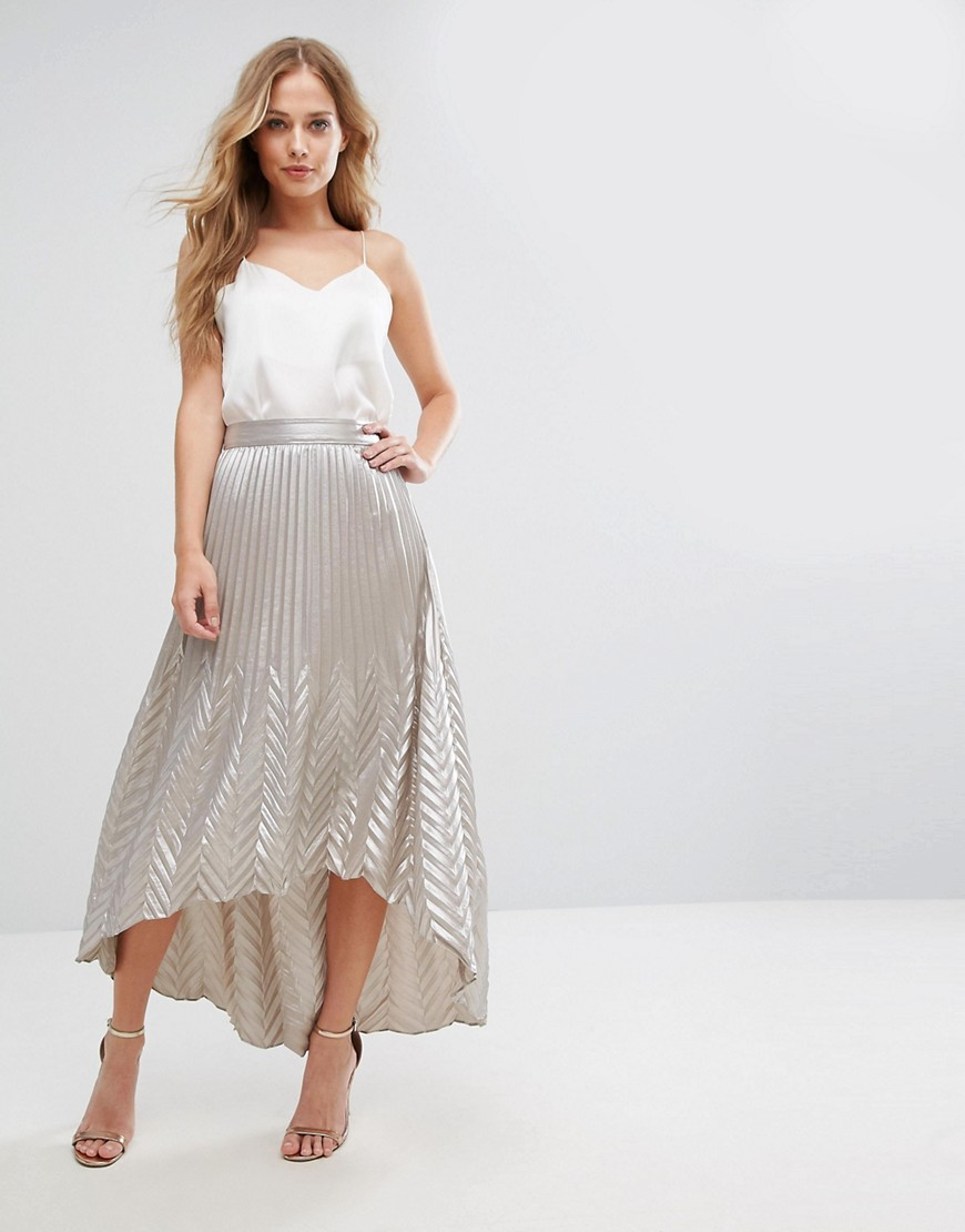 Coast Paige Pleat Maxi Skirt - Silver