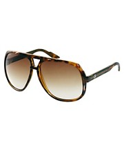 Gucci Brown Square Aviator Sunglasses