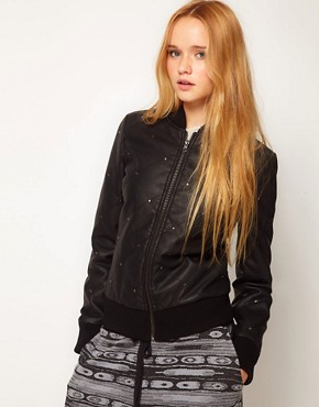 Image 1 ofASOS Leather Look Studded Bomber Jacket