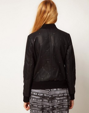 Image 2 ofASOS Leather Look Studded Bomber Jacket