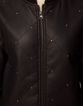 Image 3 ofASOS Leather Look Studded Bomber Jacket
