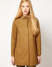 Sessun Cotton Gabardine Mac with Leather Tab