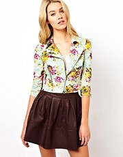 Darling Floral Lace Print Biker Jacket