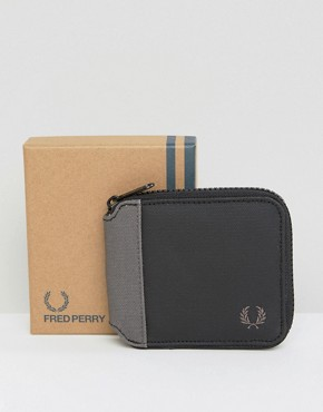 Fred Perry Coated Cotton Zip Around Wallet