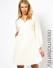 ASOS Maternity Dress With Blouson Sleeve And Rouched Panel