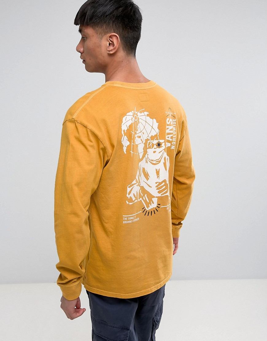 Vans Wifi Death Long Sleeve T-Shirt In Yellow VA36G750X - Yellow