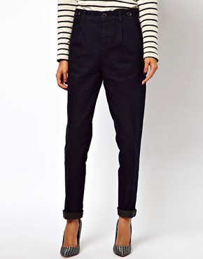 Image 4 ofASOS Relaxed Trouser In Indigo Tweed Denim