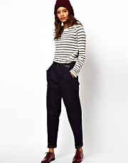 ASOS Relaxed Trouser In Indigo Tweed Denim