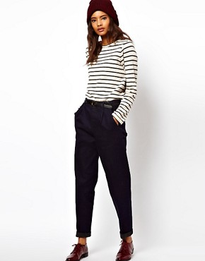 Image 1 ofASOS Relaxed Trouser In Indigo Tweed Denim