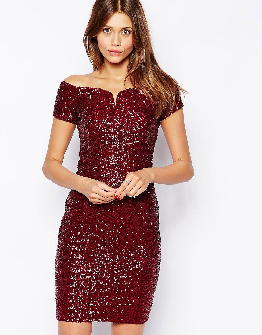 Image 1 of TFNC Bardot Dress In Sequins