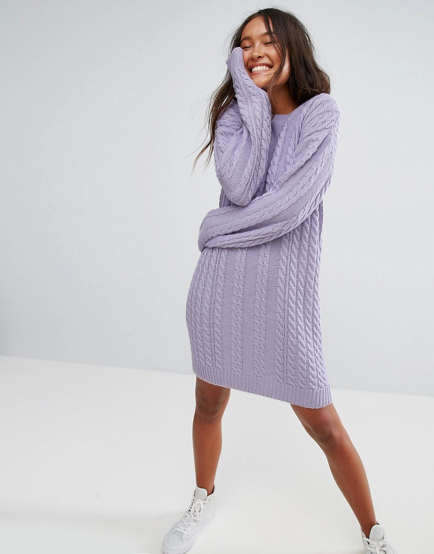 ASOS Jumper Dress With Cable Knit - Lilac