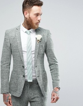 ASOS Super Skinny Suit Jacket in Green And Grey Jersey Twist