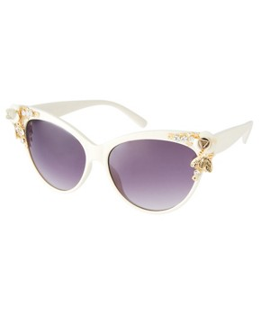 Image 1 ofASOS Cat Eye Sunglasses With Bug &amp; Flower Detail