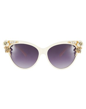 Image 2 ofASOS Cat Eye Sunglasses With Bug &amp; Flower Detail
