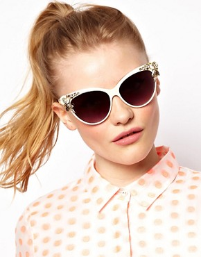 Image 3 ofASOS Cat Eye Sunglasses With Bug &amp; Flower Detail