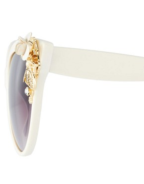 Image 4 ofASOS Cat Eye Sunglasses With Bug &amp; Flower Detail