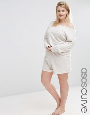 ASOS CURVE LOUNGE Oatmeal Marl Jersey Short