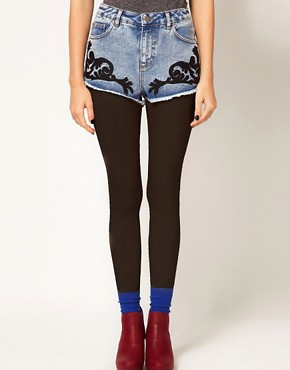 Image 4 ofASOS Denim Shorts with Baroque Embroidery