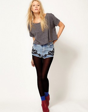 Image 1 ofASOS Denim Shorts with Baroque Embroidery
