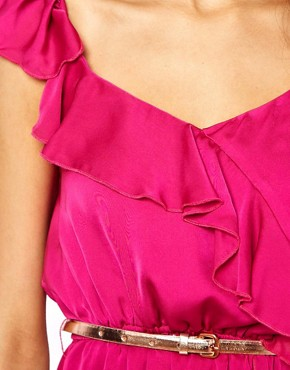 Image 3 ofJarlo Ruffle Wrap Detail Dress With Belt
