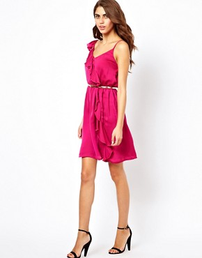 Image 4 ofJarlo Ruffle Wrap Detail Dress With Belt