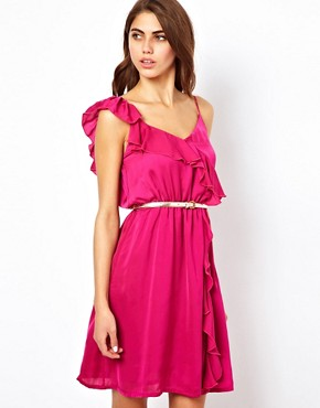 Image 1 ofJarlo Ruffle Wrap Detail Dress With Belt
