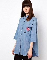 Markus Lupfer Denim Embroidered Shirt