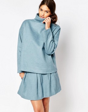 Ganni Inglewood Blue Wool Mix Top