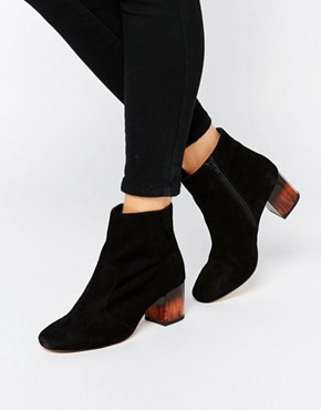 ASOS REA Leather Heeled Ankle Boots