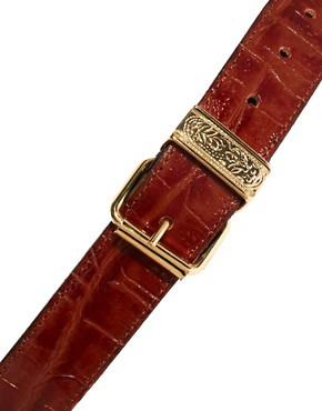 Image 2 ofBlack &amp; Brown London Alana Leather Belt In Croc Print