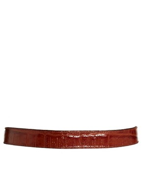 Image 3 ofBlack &amp; Brown London Alana Leather Belt In Croc Print