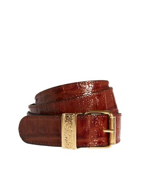 Image 1 ofBlack &amp; Brown London Alana Leather Belt In Croc Print