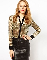Karen Millen Shirt in Croc Print with Contrast Collar and Placket