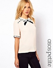 ASOS PETITE Blouse With Ribbon Detail And Contrast Bow