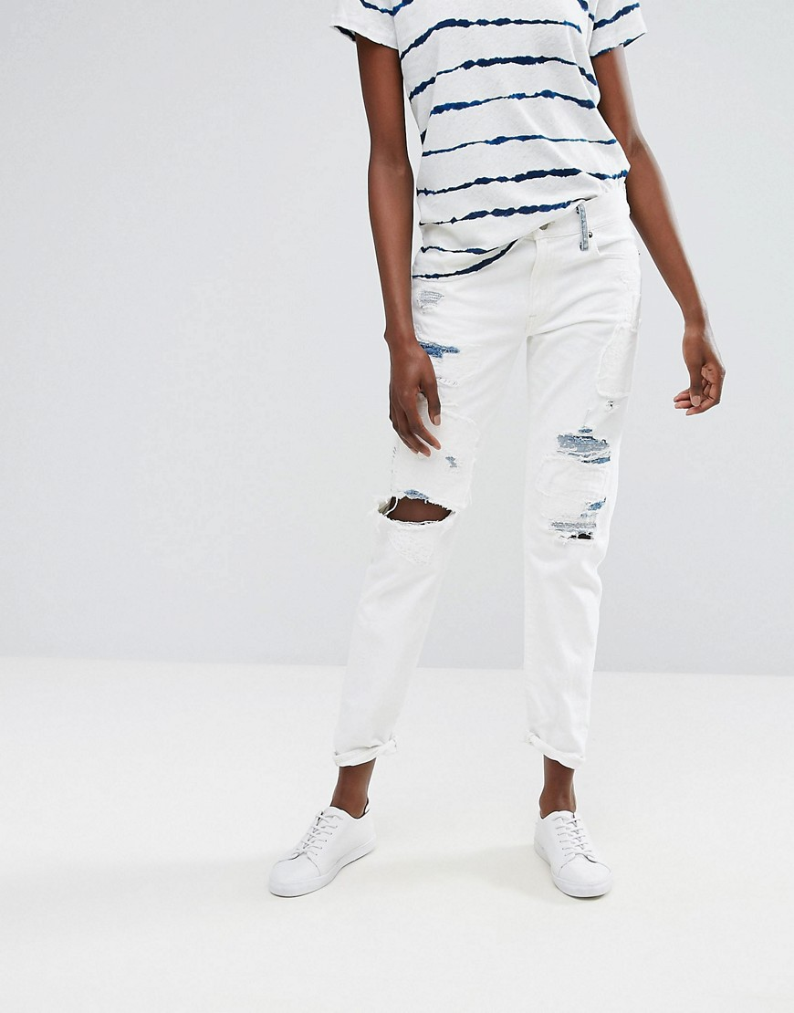 Polo Ralph Lauren Slim Boyfriend Jean with Tie Dye Distressing - White