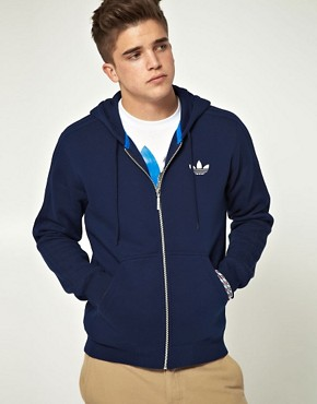 Image 1 ofAdidas Originals Zip Through Hooded Sweat with Trefoil Logo