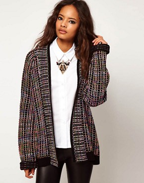 Image 1 ofASOS Cardigan In Grid Pattern