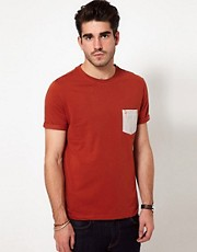 Farah Vintage - T-shirt con tasca a contrasto