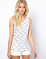 A Wear Parrot Print Vest Top