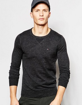 Hilfiger Denim Jumper with Crew Neck In Black Marl