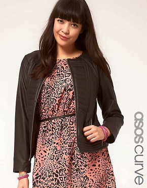Image 1 ofASOS CURVE Exclusive Leather Jacket With Stitch Detail