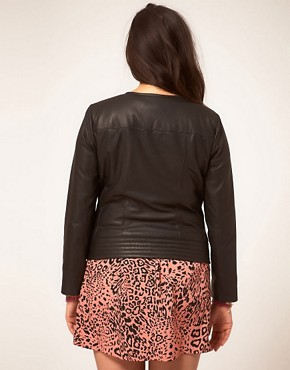 Image 2 ofASOS CURVE Exclusive Leather Jacket With Stitch Detail
